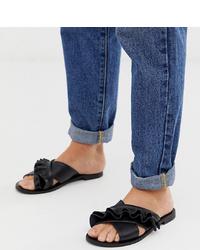 Sandales plates en cuir noires Miss Selfridge