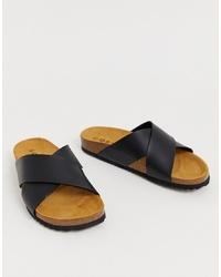 Sandales plates en cuir noires Office