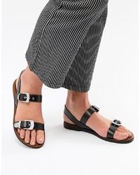 Sandales plates en cuir noires Pull&Bear