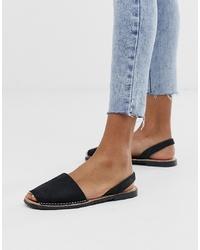 Sandales plates en cuir noires SOLILLAS