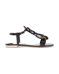 Sandales plates en cuir noires Sophia Webster