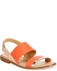 Sandales plates en cuir orange