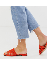 Sandales plates en cuir orange Miss Selfridge