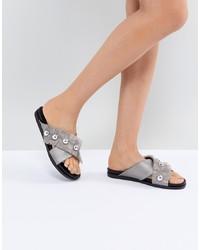 Sandales plates en cuir ornées argentées LOST INK