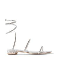 Sandales plates en cuir ornées argentées Rene Caovilla