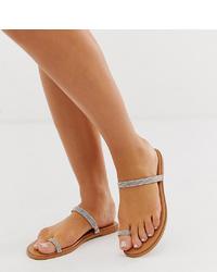 Sandales plates en cuir ornées beiges ASOS DESIGN