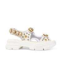 Sandales plates en cuir ornées blanches Gucci
