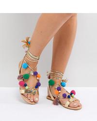 Sandales plates en cuir ornées dorées ASOS DESIGN