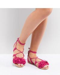 Sandales plates en cuir ornées fuchsia ASOS DESIGN