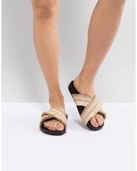 Sandales plates en cuir ornées marron clair Kaltur