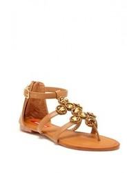 Sandales plates en cuir ornées marron