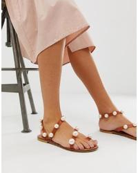 Sandales plates en cuir ornées marron ASOS DESIGN