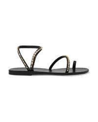 Sandales plates en cuir ornées noires Ancient Greek Sandals