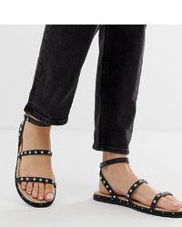Sandales plates en cuir ornées noires ASOS DESIGN
