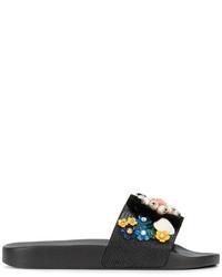 Sandales plates en cuir ornées noires Dolce & Gabbana