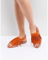 Sandales plates en cuir ornées orange Kaltur