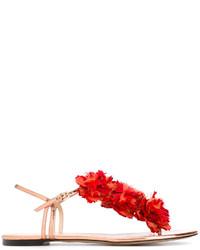 Sandales plates en cuir ornées rouges Charlotte Olympia