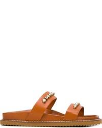 Sandales plates en cuir ornées tabac Twin-Set