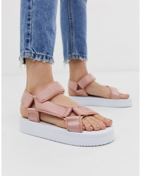 Sandales plates en cuir roses ASOS DESIGN