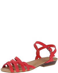 Sandales plates en cuir rouges