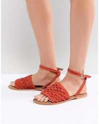 Sandales plates en cuir rouges ASOS DESIGN