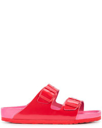 Sandales plates en cuir rouges Birkenstock