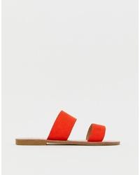 Sandales plates en cuir rouges Glamorous