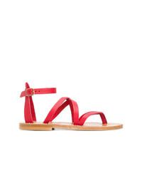 Sandales plates en cuir rouges K. Jacques