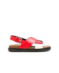 Sandales plates en cuir rouges Marni