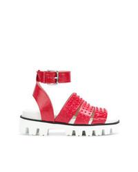 Sandales plates en cuir rouges RED Valentino