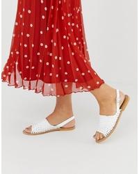 Sandales plates en cuir tressées blanches ASOS DESIGN