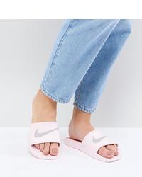 Sandales plates en cuir violet clair Nike