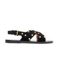 Sandales plates en daim à clous noires Isabel Marant