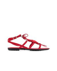 Sandales plates en daim à franges rouges Tod's