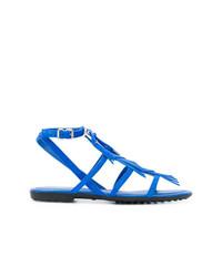 Sandales plates en daim bleues Tod's