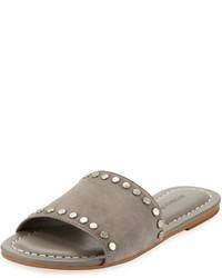 Sandales plates en daim grises