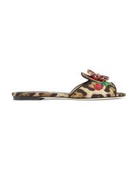 Sandales plates en daim imprimées léopard marron clair Dolce & Gabbana