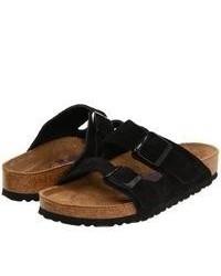 Sandales plates en daim noires