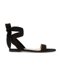 Sandales plates en daim noires Gianvito Rossi