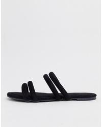 Sandales plates en daim noires Glamorous