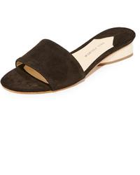 Sandales plates en daim noires Paul Andrew