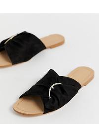 Sandales plates en daim noires Stradivarius
