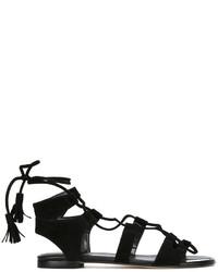 Sandales plates en daim noires Stuart Weitzman