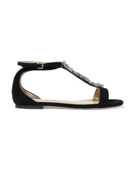 Sandales plates en daim ornées noires Jimmy Choo