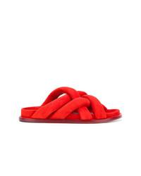 Sandales plates en daim rouges Proenza Schouler