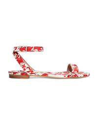 Sandales plates en satin à fleurs rouges Tabitha Simmons
