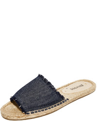 Sandales plates en toile bleu marine