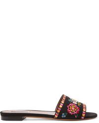 Sandales plates en toile brodées noires Tabitha Simmons