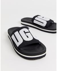 Sandales plates en toile brodées noires UGG