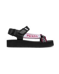 Sandales plates en toile épaisses noires Prada